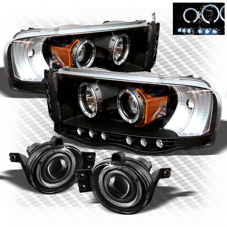For 02 05 Dodge Ram Led Projector Black Headlights Halo