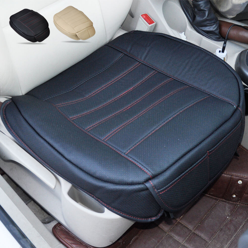universal black car front seat cover breathable pu leather seat pad cushion ebay. Black Bedroom Furniture Sets. Home Design Ideas