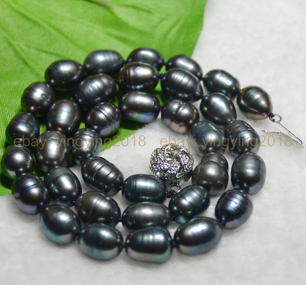 new natural 10 11mm tahitian rice black pearl necklace 18. Black Bedroom Furniture Sets. Home Design Ideas