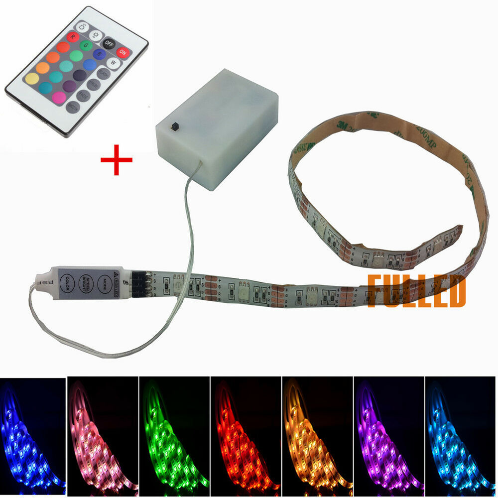 4 5v leds rgb strip leiste batteriehalter mit fernbedienung batteriebetrieben ebay. Black Bedroom Furniture Sets. Home Design Ideas