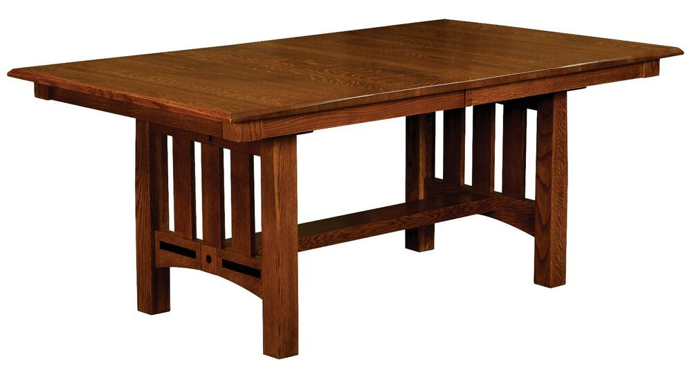 Amish Mission Lavega Trestle Dining Table Solid Wood Oak  : s l1000 from www.ebay.com size 1000 x 539 jpeg 46kB