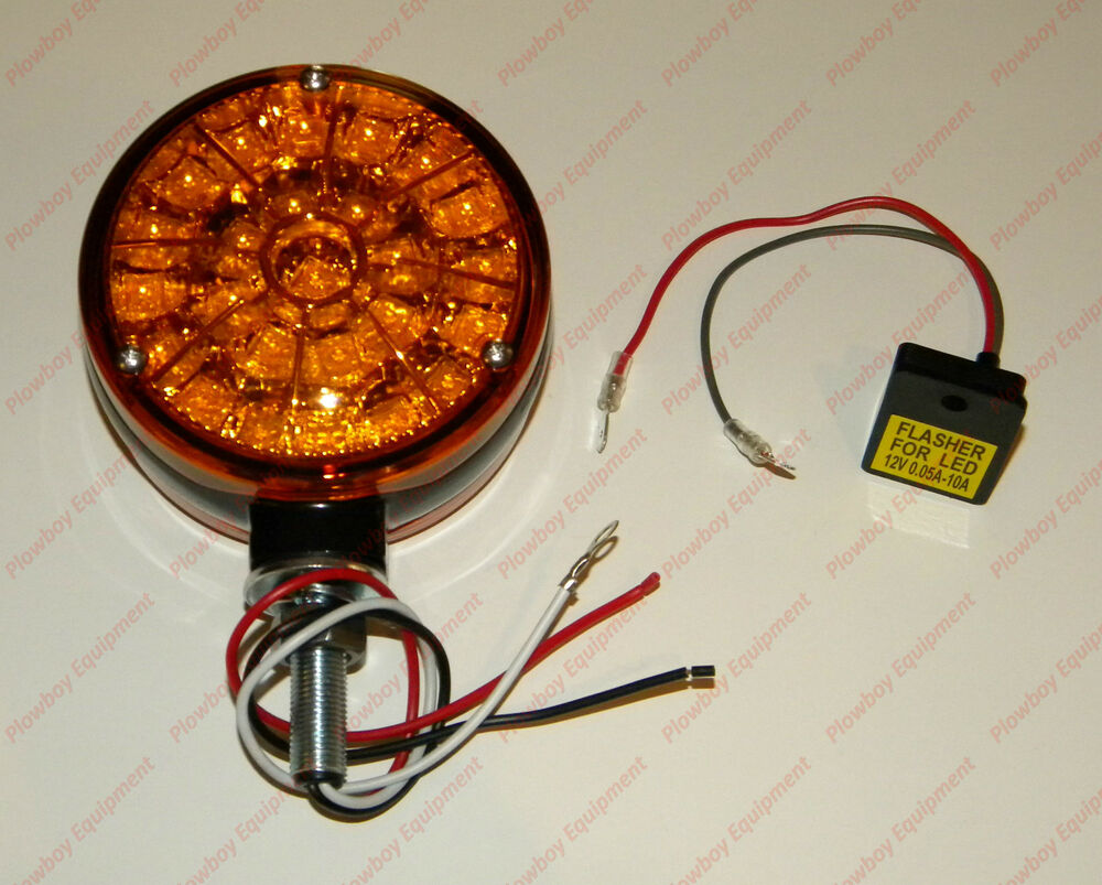 Case Ih D25 Headlight Bulb : Round led amber warning light flasher unit for case ih