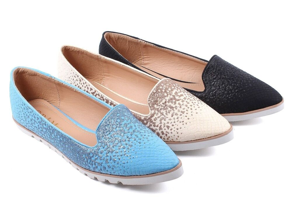 3 Color New Glitter Lady Point Toe Comfortable Slip On ...