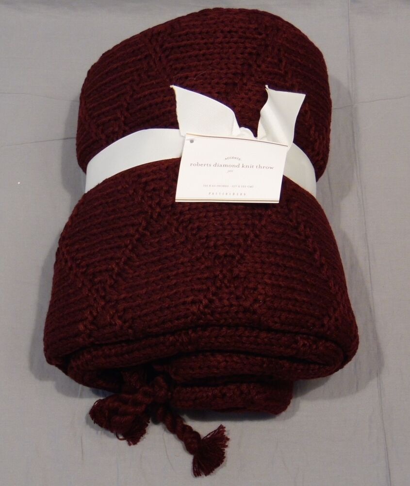 Knitting Pattern For Pottery Barn Throw : Pottery Barn Claret Roberts Diamond Knit Throw eBay