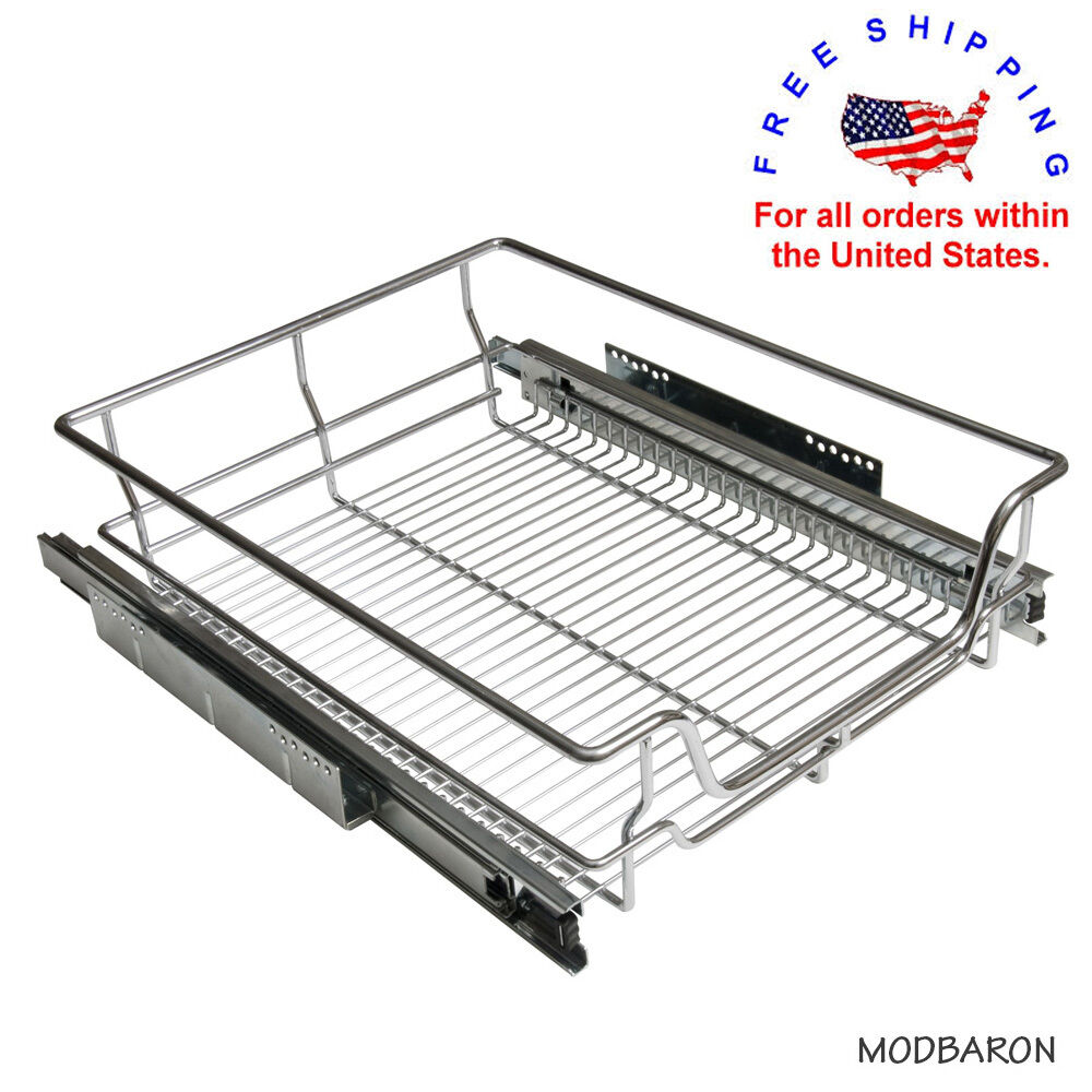 Pull Out Wire Basket Base Cabinet Chrome Kitchen Storage: Chrome Wire Pull-Out Basket Heavy Duty Soft Close Slide