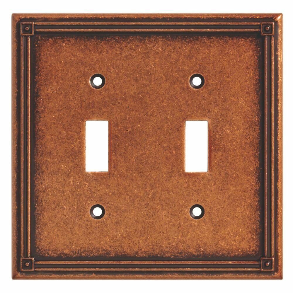 135765 Ruston Sponged Copper Double Switch Cover Plate Ebay