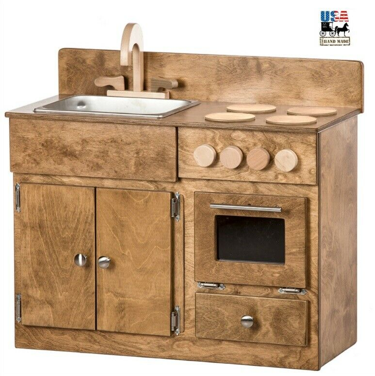 Wooden Household Furniture ~ Kitchen sink stove oven amish handmade wood play