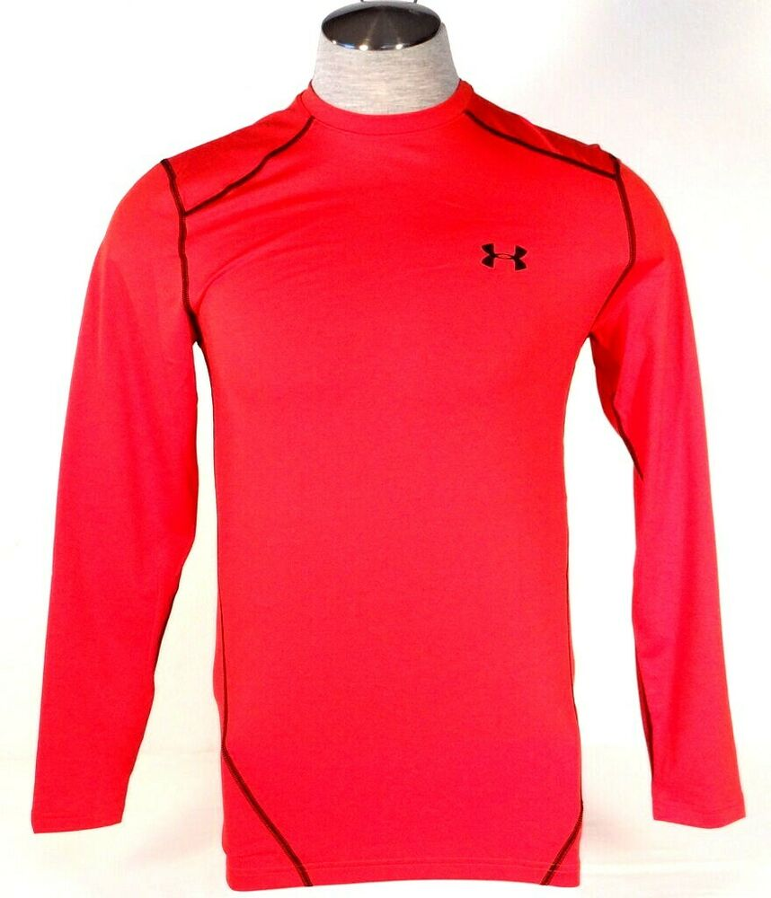 Under Armour Coldgear Red Long Sleeve Fitted Shirt Mens