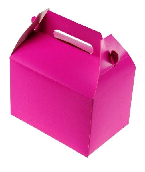 Carnival Toy Box Pink: 12 HOT PINK PARTY TREAT BOXES FAVORS GOODY BAG BAZAAR
