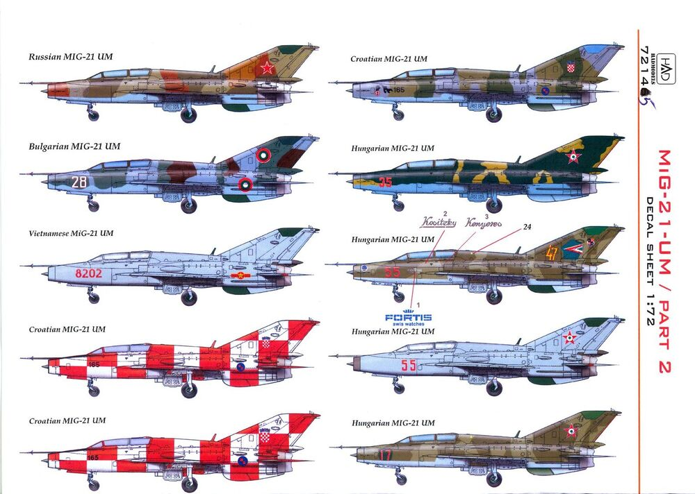 Hungarian Aero Decals 1/72 MIKOYAN MiG-21 UM Jet Fighter Part 2 | eBay
