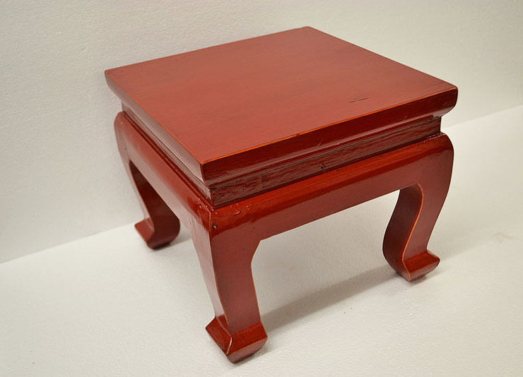 Red Chinese Small Square Wooden Low Stool Table Display