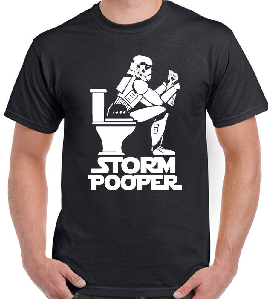Storm pooper mens funny t shirt storm trooper star wars for Vintage star wars t shirts men