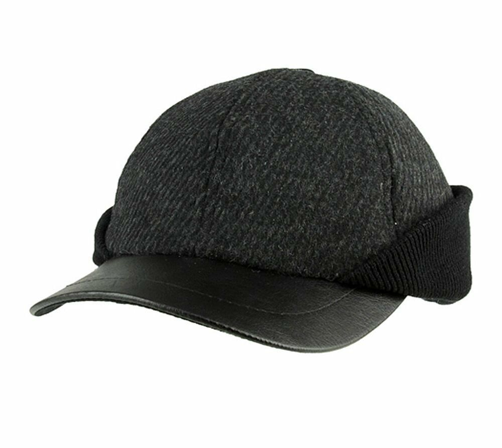 winter wool baseball cap hat with ear flaps charcoal grey