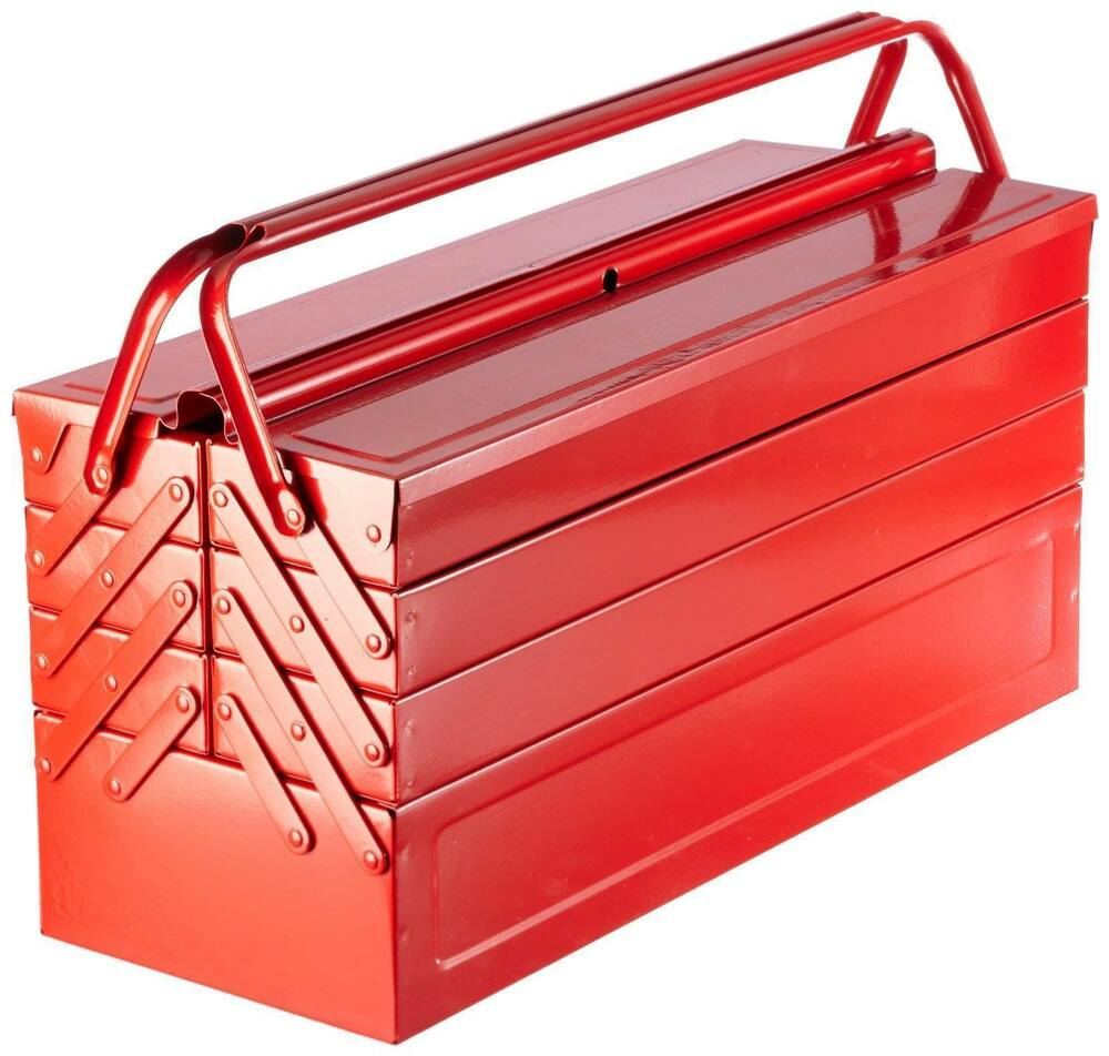 laser tools clearout red metal toolbox tool box cantilever 7 tray large 530mm ebay. Black Bedroom Furniture Sets. Home Design Ideas