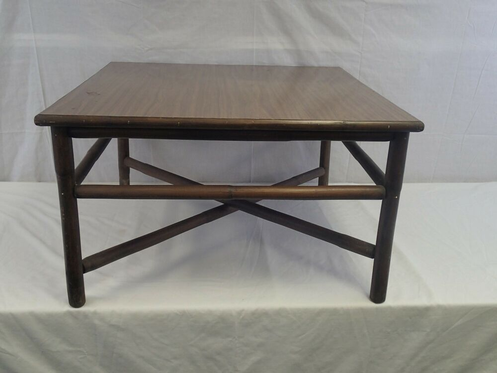 Ficks Reed Co Vintage Bamboo Rattan Square Coffee Table Ebay