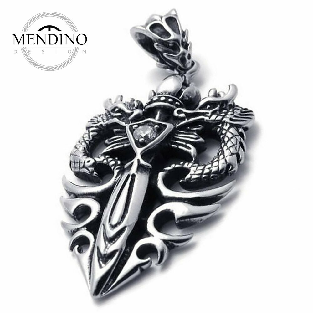 mendino men 39 s stainless steel pendant chain necklace crown. Black Bedroom Furniture Sets. Home Design Ideas