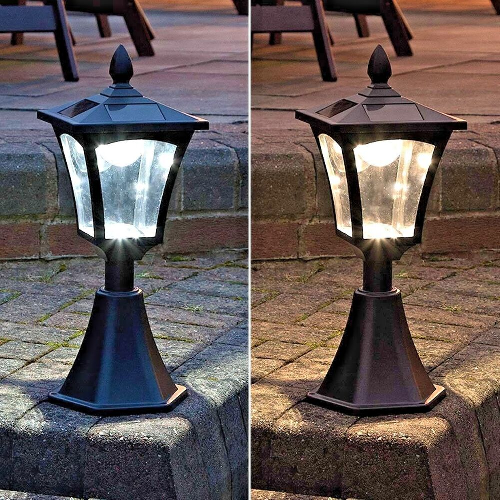 42CM SOLAR POWER OUTDOOR GARDEN DECK BASE MOUNT POST WALL LED LIGHT LANTERN LAMP eBay