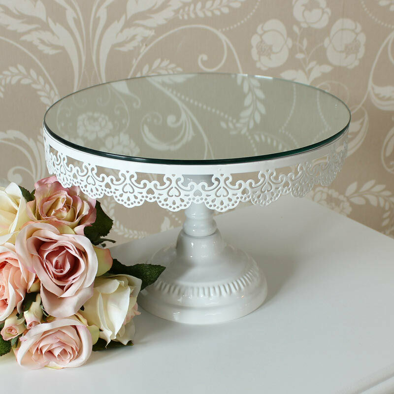 White Mirror Cake Stand Display Kitchen Dining Room Shop