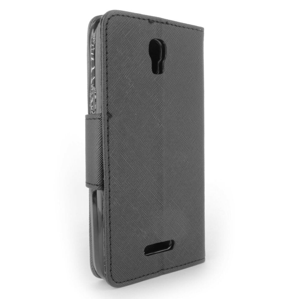 For alcatel one touch elevate wallet case black folio