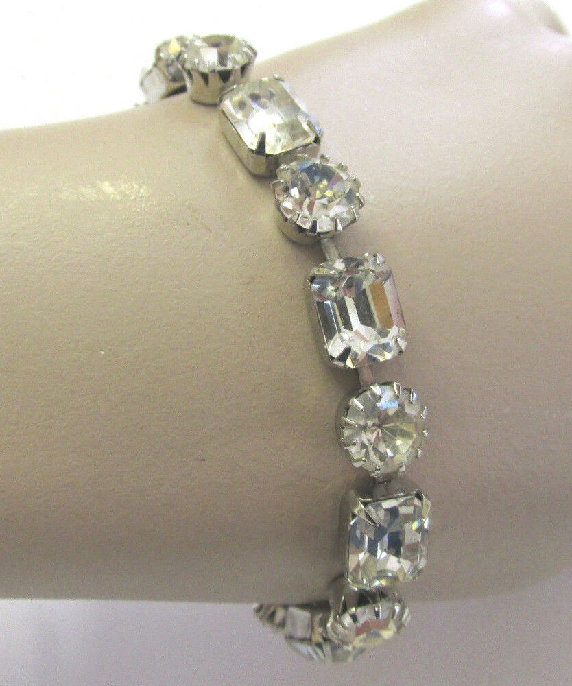 vintage 1950s signed weiss clear austrian crystal bracelet. Black Bedroom Furniture Sets. Home Design Ideas