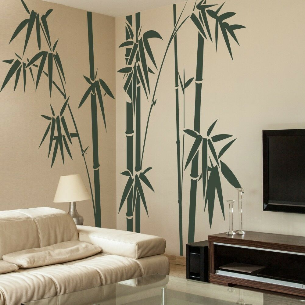 Bamboo tree wall sticker inspirational family vinyl home for Design wall mural