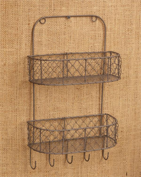 new country primitive rustic chicken wire spice rack wall basket key hooks ebay. Black Bedroom Furniture Sets. Home Design Ideas