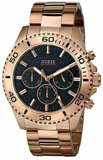NEW-GUESS ROSE GOLD TONE,S/STEEL,CHRONOGRAPH,BRACELET ...