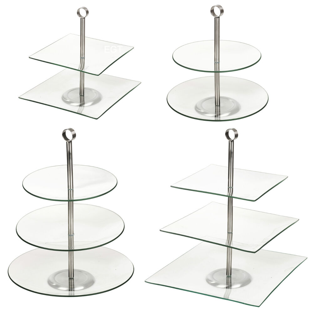 2 3 tiered glass round square serving display cakes food stand wedding plate ebay. Black Bedroom Furniture Sets. Home Design Ideas