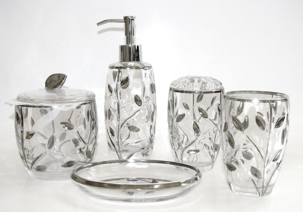5 Pc Set Glass Silver Leaf Soap Dispenser Dish Toothbrush