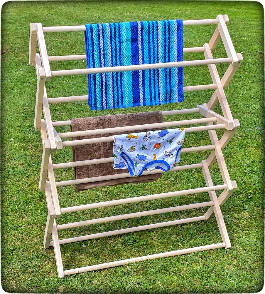 Medium Folding Drying Rack Amish Handmade 36l X 52 H X