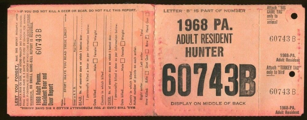 Pennsylvania 1968 adult resident hunting license w rw35 for Louisiana non resident fishing license