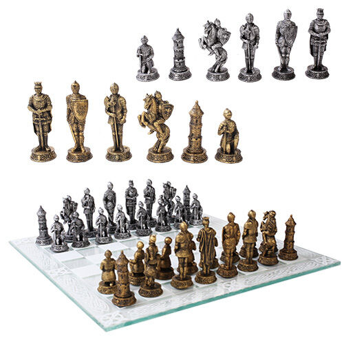 Medieval Knight Chess Set W Glass Board Chessboard Home Decorative Gift 11069 Ebay