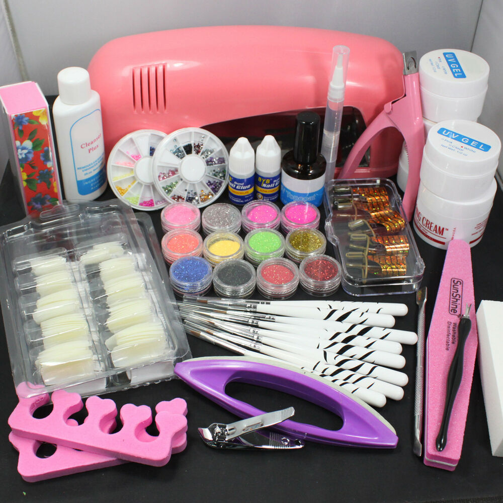 Pro Nail Art UV Gel Kit Tools Pink UV lamp Brush Tips Glue Acrylic ...
