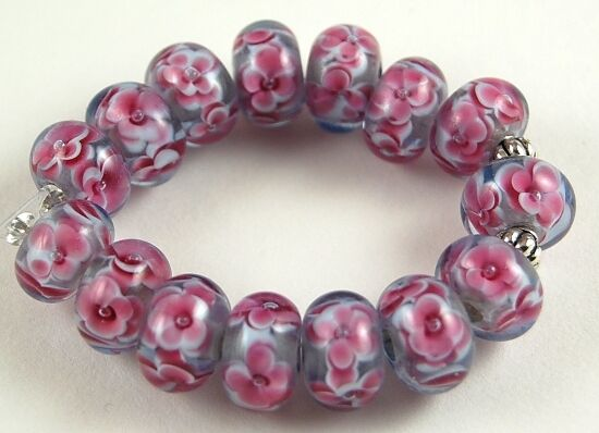 Lampwork glass beads handmade purple pink flower jewelry for Unique stones for jewelry making