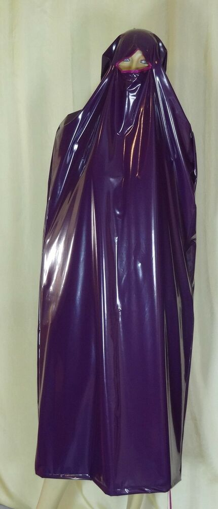 regen burka niqap maske kleid purple pvc neu diargh ebay. Black Bedroom Furniture Sets. Home Design Ideas