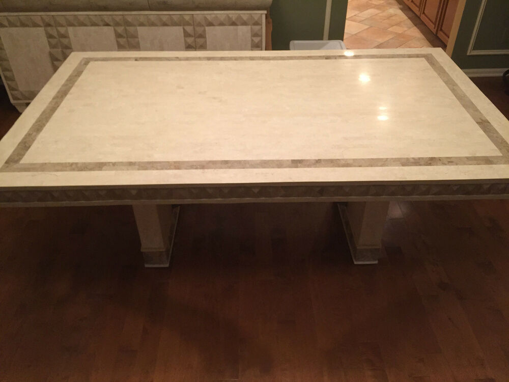 Two Tone Teselallated Fossil Stone Dining Room Table