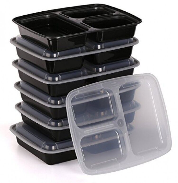 estilo 3 compartment microwave safe bento food container with lid 6pack new ebay. Black Bedroom Furniture Sets. Home Design Ideas
