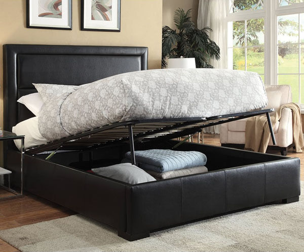 New kipplan contemporary black bycast leather queen - Modern queen bed with storage ...