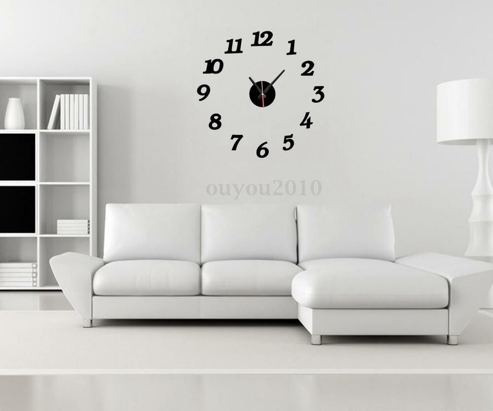 mirror wall sticker clock watch home art living room decor diy ebay