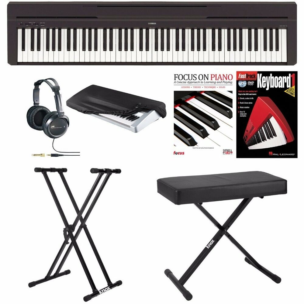 yamaha p45b digital piano w bench stand headphones. Black Bedroom Furniture Sets. Home Design Ideas
