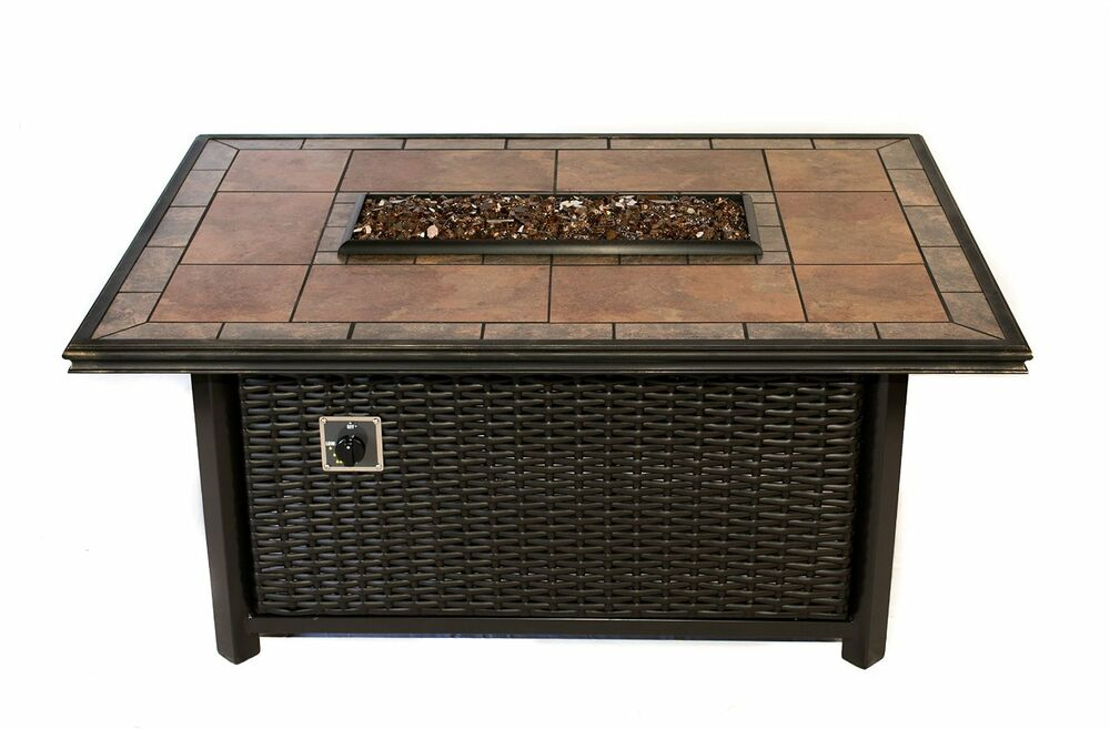 Dreffco linear wicker fire pit table rectangle outdoor in for Rectangular stone fire pit
