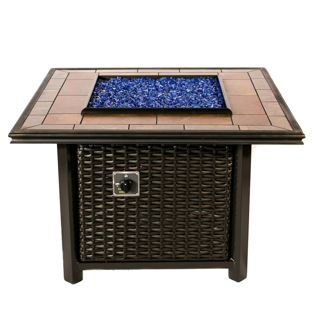Dreffco Square Wicker Fire Pit Table Outdoor In Natural Or