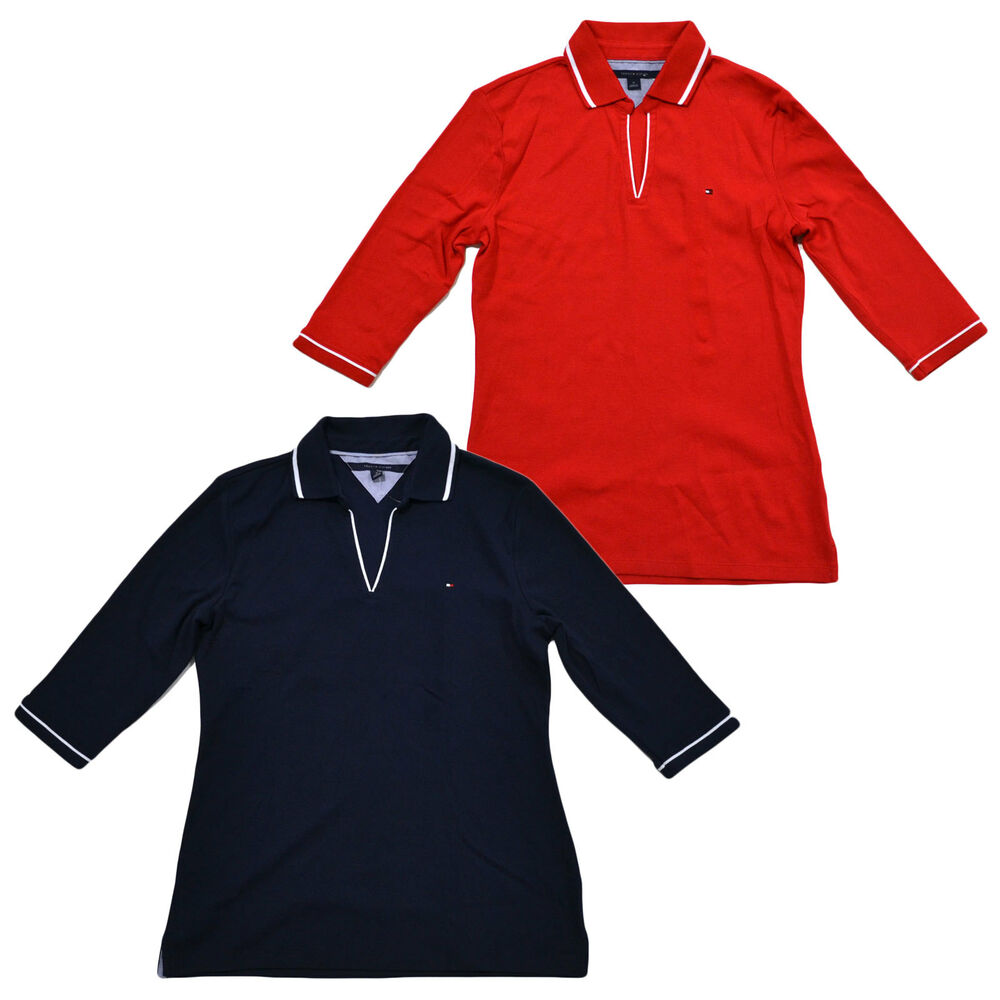 1fba8bb9198 Details about Tommy Hilfiger Womens Emma Polo Buttonless Open Neck Classic  Fit 3/4 Sleeve Qtr