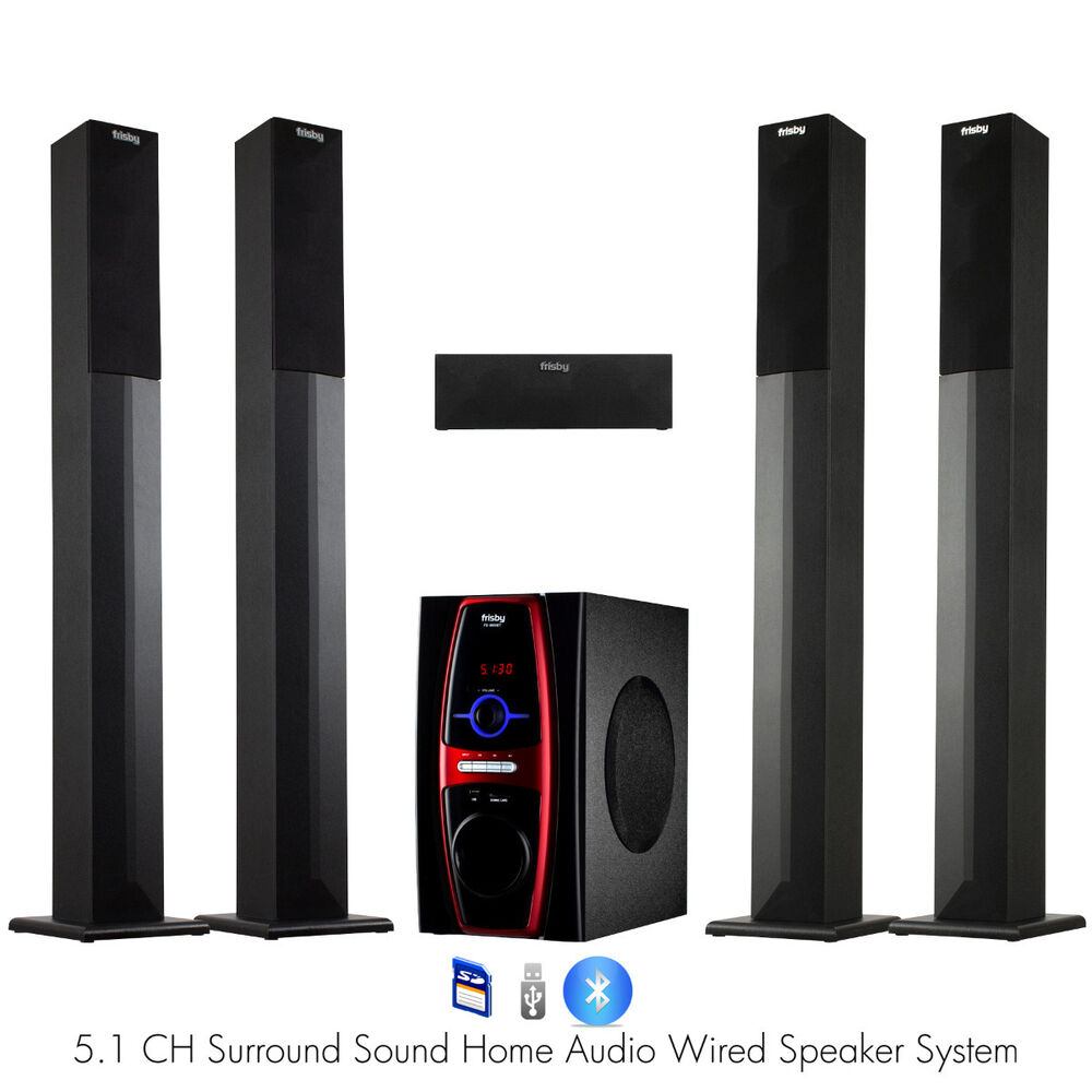 frisby fs 6600 5 1 channel home theater tower speaker system w bluetooth usb sd ebay. Black Bedroom Furniture Sets. Home Design Ideas