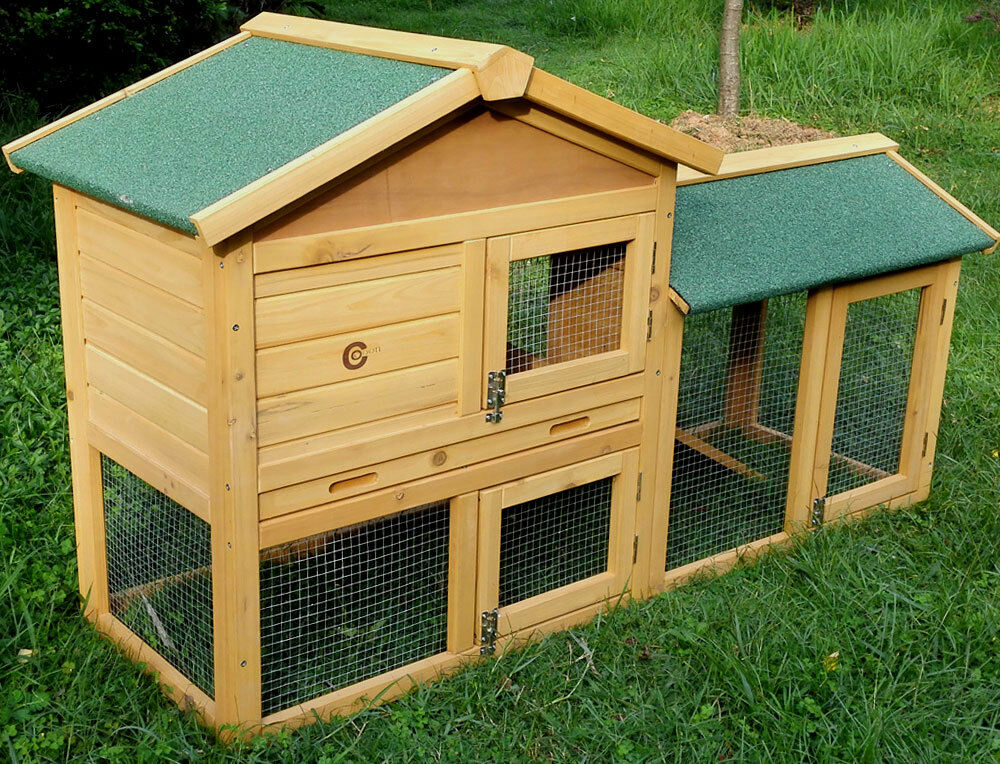 Rabbit hutch natural colour guinea pig hutches run large for Free guinea pig hutch