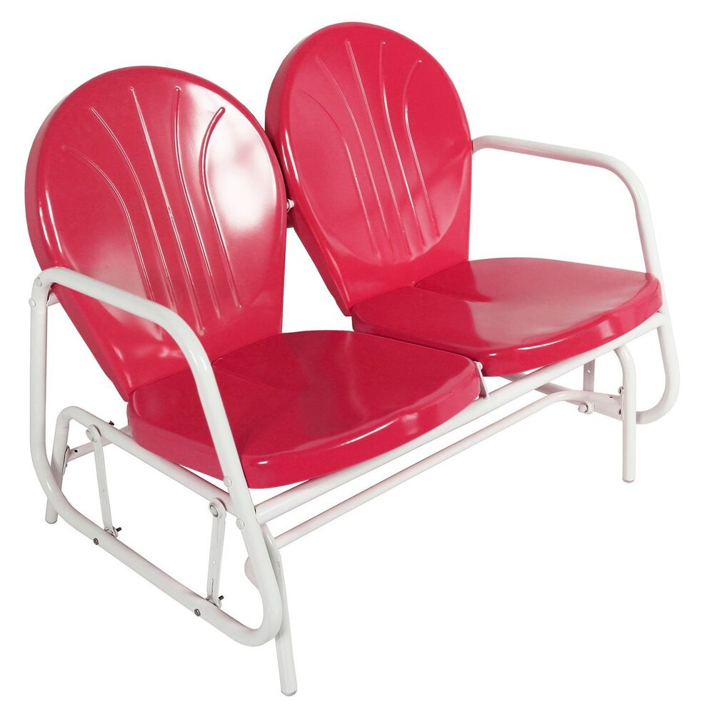 Chile Red Retro Styled Metal Double Glider Chair Ebay