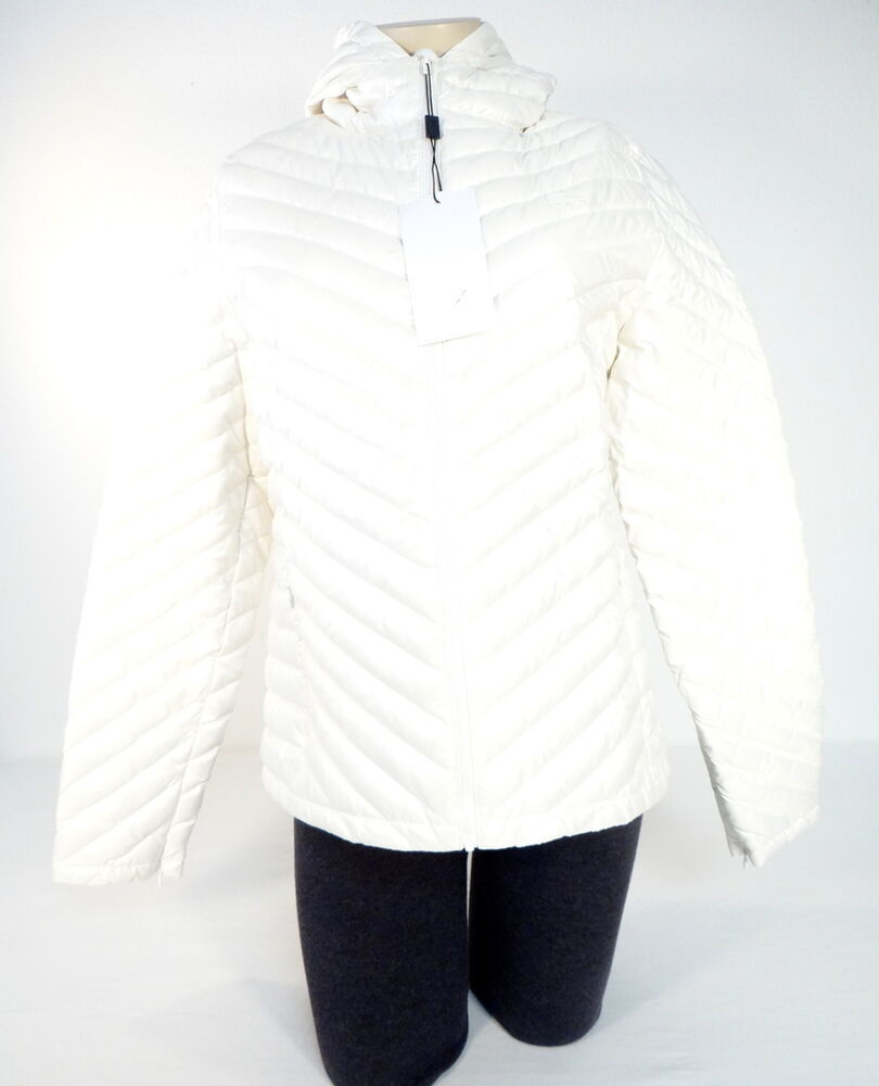 Lacoste White Zip Front Quilted Down Filled Hooded Jacket