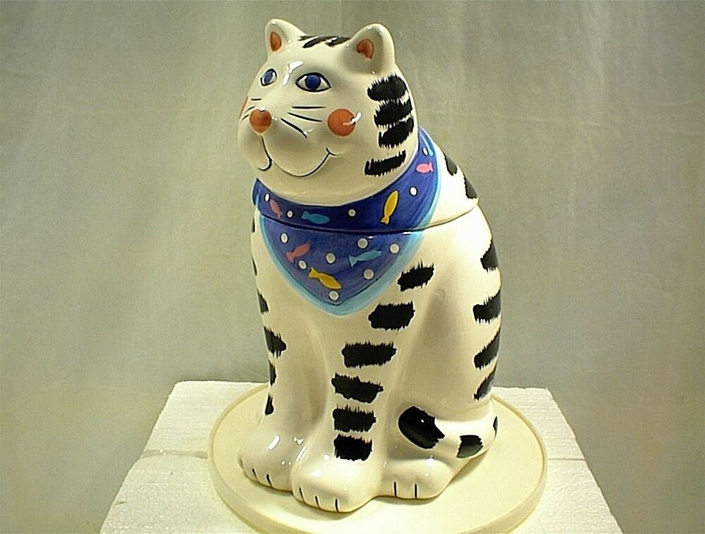 Cat White Black With Blue Scarf Coco Dowley Cookie Jar