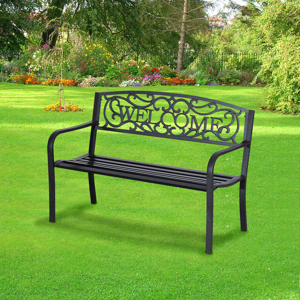gartenbank sitzbank bank metall gartenm bel 2 sitzer wasserdicht schwarz ebay. Black Bedroom Furniture Sets. Home Design Ideas