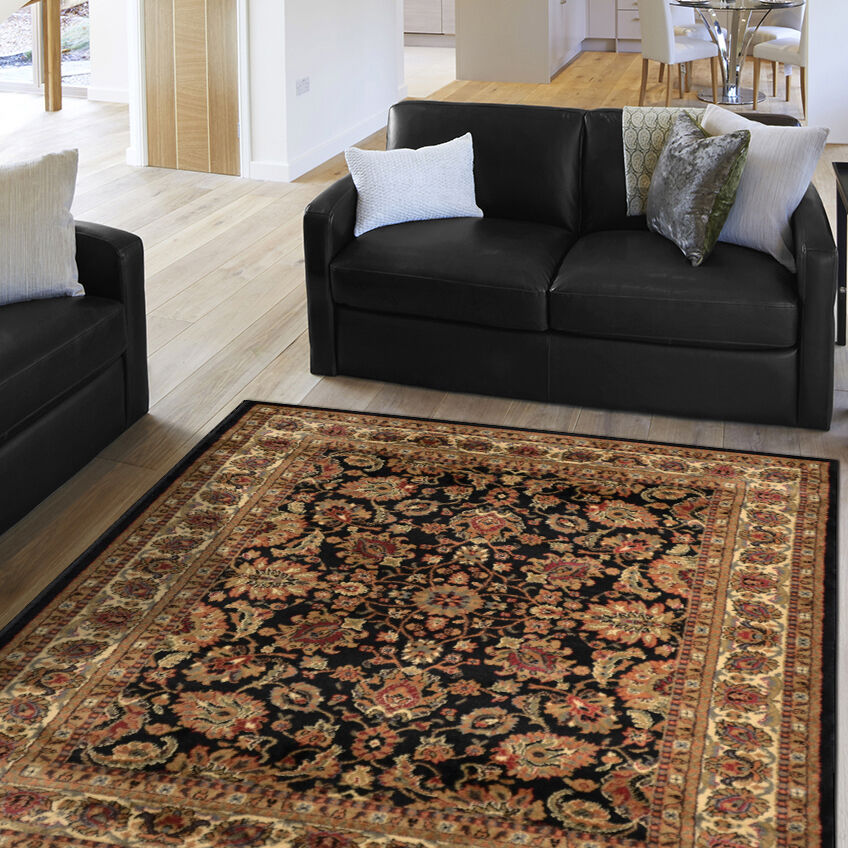 Black Oriental Area Rug Persian Style Floral Vines Oval